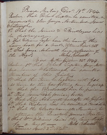 Image of a hand written page from the 1844 minute book of the Rochdale Equitable Pioneers Society.
