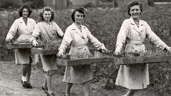 Image of 1940s women at CWS farms carrying trays of food from Archive Collections.