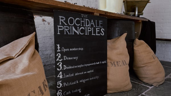 Image of the Rochdale Principles written on a chalkboard